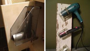 Gyors és egyszerű fürdőszoba hack: DIY hajszárítótartó